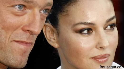 Italian actress and festival jury member Monica Bellucci (R) arrives with actor Vincent Cassel for a screening of [French director Rachid Bouchareb]'s in competition film 'Indigenes' at the 59th Cannes Film Festival May 25, 2006. - RTXONEH