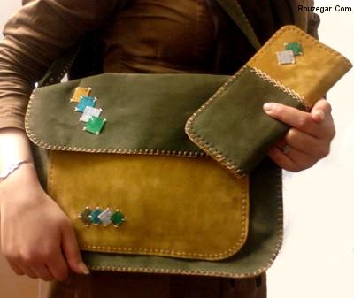کیف دست دوز چرمی, کیف دوشی زنانه دست دوز,کیف دست دوز زنانه, کیف دست دوز پارچه ای,کیف دست دوز چرم با الگو