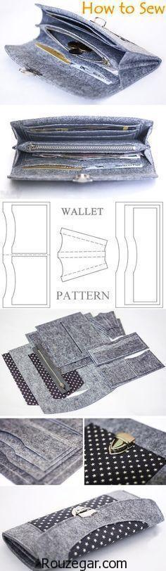 الگو کیف پول زنانه پارچه ای آبی