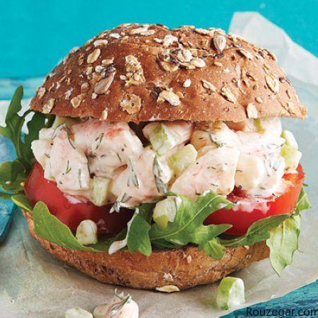 ساندویچ میگو ,بیسکویت مخصوص گیاهخواران, ترشی هلو و زردآلو , ادویه تاکو ,