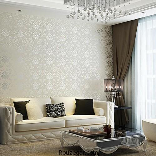 Elegant Cream Hallway With Damask Wallpaper: مدل کاغذ دیواری سه بعدی و جدیدترین مدل کاغذ دیواری برای