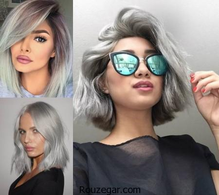 مدل رنگ مو یخی - نقره ای، مدل رنگ مو،  مدل رنگ مو 2017،  مدل رنگ مو یخی،  مدل رنگ مو یخی نقره ای