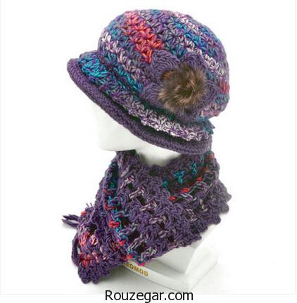 مدل شال گردن و کلاه دخترانه، مدل شال و کلاه بافتنی دخترانه