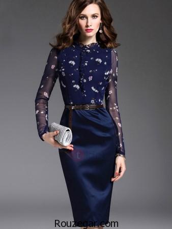 مدل لباس مخمل طرح دار دخترانه