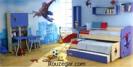 دکوراسیون اتاق خواب کودک طرح بتمن و مرد عنکبوتی، تزئینات اتاق خواب کودک، مدل اتاق خواب کودک، مدل اتاق خواب پسرانه