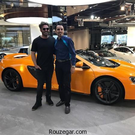 محمدرضا گلزار در کنار ماشین میلیاردی,محمدرضا گلزار,ماشین میلیاردی