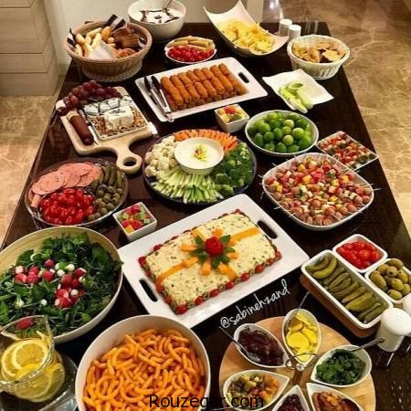 میز شام,طراحی میز غذا,سفره آرایی شام