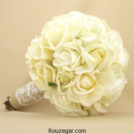 مدل دسته گل عروس رز سفید، مدل دسته گل عروس رز ، مدل دسته گل عروس رز سفید 2017