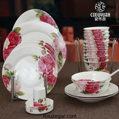 سرویس غذاخوری چینی، سرویس غذاخوری چینی گلدار، سرویس چینی