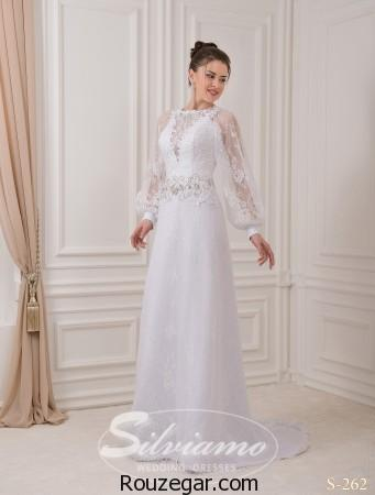 مدل لباس عروس آستین دار، مدل لباس عروس برند Silviamo، مدل لباس عروس، لباس عروس آستسن دار، لباس عروس
