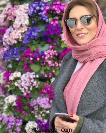 عکس سحر دولتشاهی در کنار گل های رنگی رنگی نوروز 96,سحر دولتشاهی