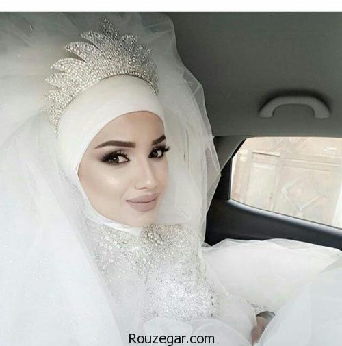 گالری شیک ترین مدل های آرایش عروس محجبه،مدل لباس عروس با حجاب با کلاه،لباس عروس حجابی شیک،مدل کلاه عروس محجبه،لباس عروس با حجاب اسلامی،عروس با کلاه،عروس با حجاب ایرانی،لباس عروس بی حجاب،مدل لباس عروس پوشیده با دانتل