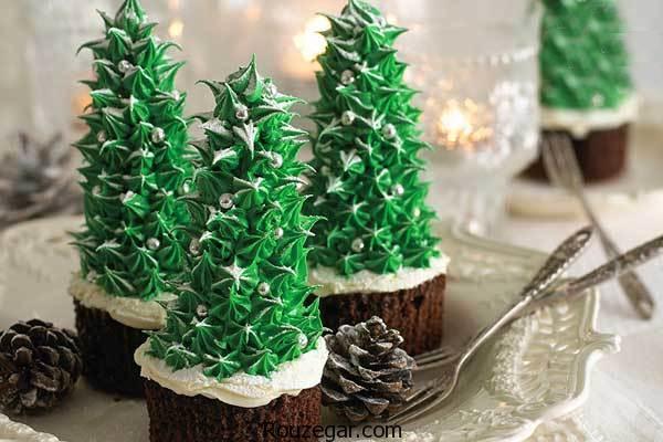 طرز تهیه کاپ کیک درخت کریسمس