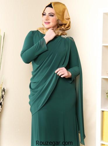 لباس مجلسی پوشیده سایز بزرگ، لباس مجلسی پوشیده سایز بزرگ 2018