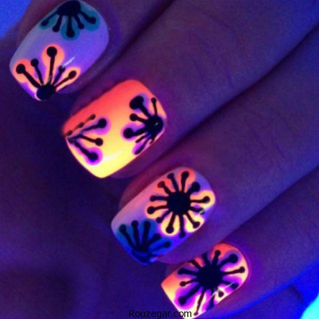 لاک ناخن شب نما | طراحی و دیزاین ناخن با لاک شبرنگ یا نئون