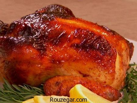 مرغ در فر,طرز تهیه مرغ در فر با رب انار,آموزش مرغ در فر با سس