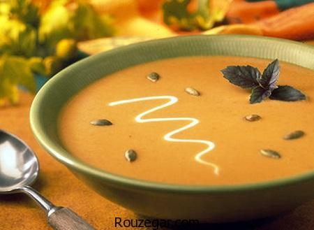سوپ کدو حلوایی,طرز تهیه سوپ کدو حلوایی با خامه,آموزش سوپ کدو حلوایی با شیر
