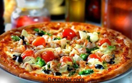 پیتزا مخلوط,طرز تهیه پیتزا مخلوط مخصوص,آموزش پیتزا مخلوط