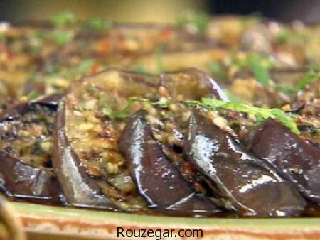 ترشی بادمجان,طرز تیهه ترشی بادمجان شکم پر,آموزش ترشی بادمجان با تمر هندی