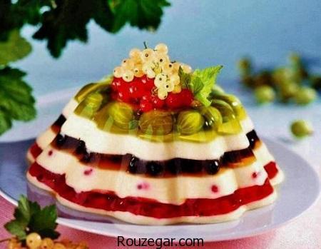 ژله میوه ای,ژله میوه ای قالبی,ژله میوه ای مجلسی,ژله میوه ای لیوانی,ژله میوه ای با آلوورا,ژله میوه ای موز,کرم ژله میوه ای,ژله میوه ای دو رنگ,ژله میوه ای با ورق ژلاتین