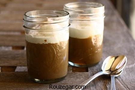 پودینگ قهوه,طرز تهیه پودینگ قهوه و دارچین,آموزش پودینگ قهوه با سس شکلات