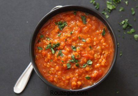 سوپ جو قرمز مجلسی + طرز تهیه سوپ جو قرمز با قارچ