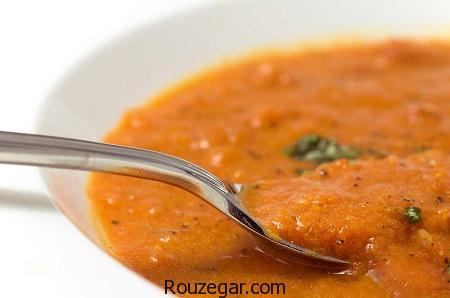 سوپ جو قرمز,طرز تهیه سوپ جو قرمز مجلسی,آموزش سوپ جو قرمز با قارچ