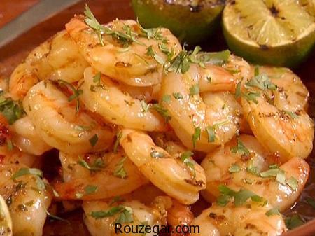 خوراک میگو,طرز تهیه خوراک میگو با قارچ,آموزش خوراک میگو با سیب زمینی
