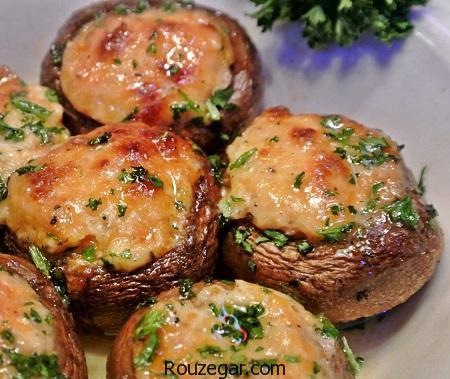 قارچ شکم پر,طرز تهیه قارچ شکم پر با گوشت,آموزش قارچ شکم پر با اسفناج