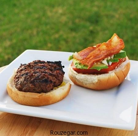 همبرگر خانگی,طرز تهیه همبرگر خانگی با قارچ,آموزش همبرگر خانگی با سیب زمینی
