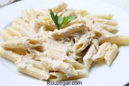 پاستا مرغ و قارچ,طرز تهیه پاستا مرغ و قارچ در فر,آموزش پاستا مرغ و قارچ با سس سفید