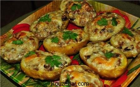 دلمه قارچ,دلمه قارچ بدون,دلمه قارچ با مرغ,دلمه قارچ با گوشت چرخ کرده,دلمه قارچ با پنیر,طرز تهیه دلمه قارچ
