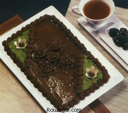 حلوای شکلاتی,طرز تهیه حلوای شکلاتی مجلسی,آموزش حلوای شکلاتی دو رنگ,