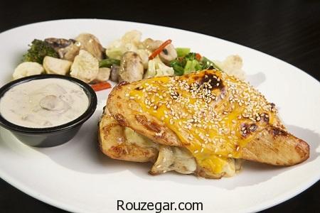 استیک مرغ,طرز تهیه استیک مرغ رژیمی,آموزش استیک مرغ با قارچ