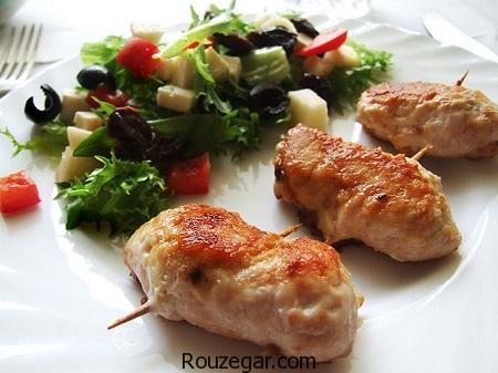 رولت مرغ,طرز تهیه رولت مرغ با قارچ,آموزش رولت مرغ با سبزیجات