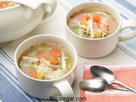 سوپ مرغ,طرز تهیه سوپ مرغ خوشمزه,آموزش سوپ مرغ و سبزیجات,طرز تهیه سوپ مرغ و قارچ,آموزش سوپ مرغ و جو پرک,طرز تهیه سوپ مرغ برای سرماخوردگی