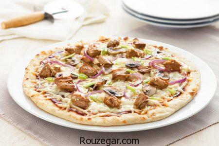 پیتزا مرغ و قارچ,طرز تهیه پیتزا مرغ و قارچ خانگی,آموزش پیتزا مرغ و قارچ خوشمزه