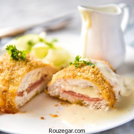 کوردن بلو,طرز تهیه کوردن بلو مرغ,آموزش کوردن بلو گوشت مجلسی