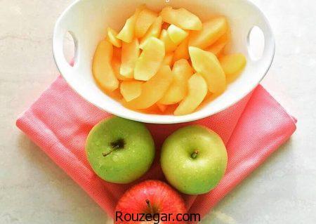 کمپوت سیب,طرز تهیه کمپوت سیب با عسل,آموزش کمپوت سیب خانگی