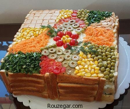 کیک مرغ,طرز تهیه کیک مرغ با نان تست,آموزش کیک مرغ خوشمزه مجلسی
