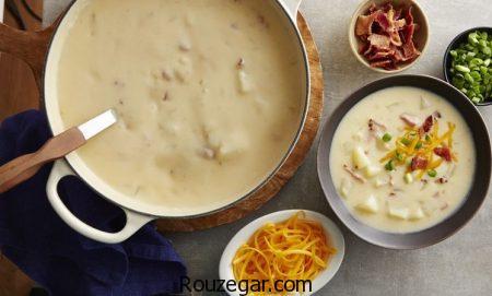 سوپ سیب زمینی,طرز تهیه سوپ سیب زمینی و قارچ,آموزش سوپ سیب زمینی با خامه