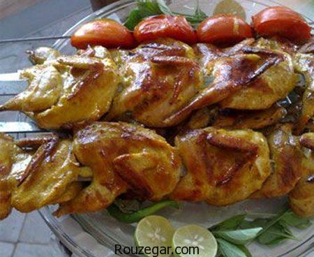 خوراک بلدرچین,طرز تهیه خوراک بلدرچین شکم پر,آموزش خوراک بلدرچین مجلسی