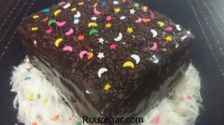 کیک تولد خانگی,طرز تهیه کیک تولد خانگی شکلاتی,آموزش کیک تولد خانگی بدون خامه