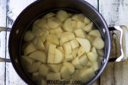 پوره سیب زمینی,پوره سیب زمینی با شیر,پوره سیب زمینی با پیاز داغ