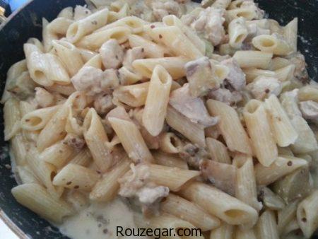 پاستا مرغ,طرز تهیه پاستا مرغ و قارچ,آموزش پاستا مرغ با سس آلفردو