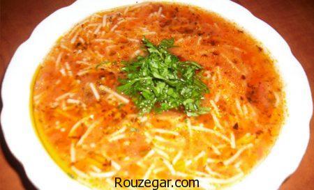 سوپ ورمیشل,طرز تهیه سوپ ورمیشل مجلسی,روش تهیه سوپ ورمیشل خوشمزه بدون مرغ
