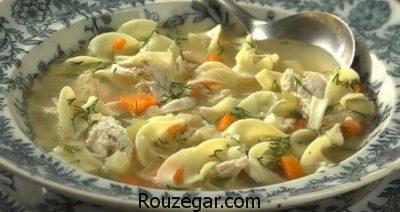سوپ مرغ با جو پرک,طرز تهیه سوپ مرغ,سوپ مرغ و ورمیشل