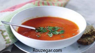سوپ فلفل دلمه ای,طرز تهیه سوپ فلفل,آموزش درست کردن سوپ فلفل قرمز
