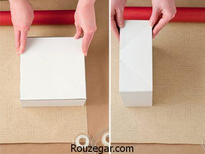 آموزش تصویری کادو کردن,طریقه کادو کردن با کاغذ کادو,آموزش کادو پیچی شیک