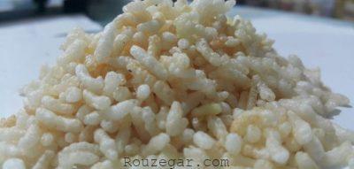 برنجک چگونه درست میشود,طرز تهیه برنجک شمالی,برنجک شیرین رنگی